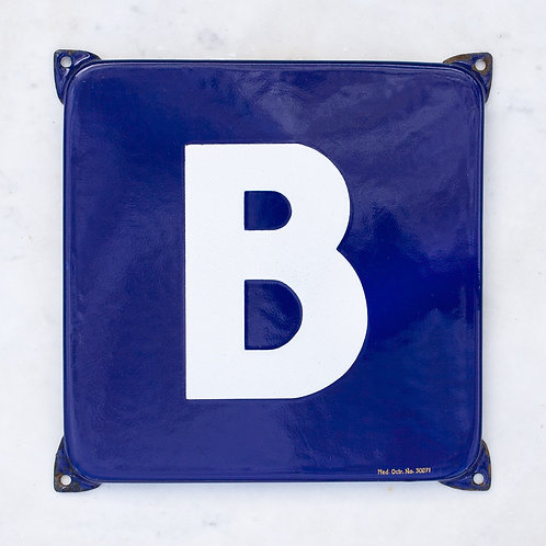 LOVELY VINTAGE, BLUE + WHITE LETTER B ENAMEL SIGN