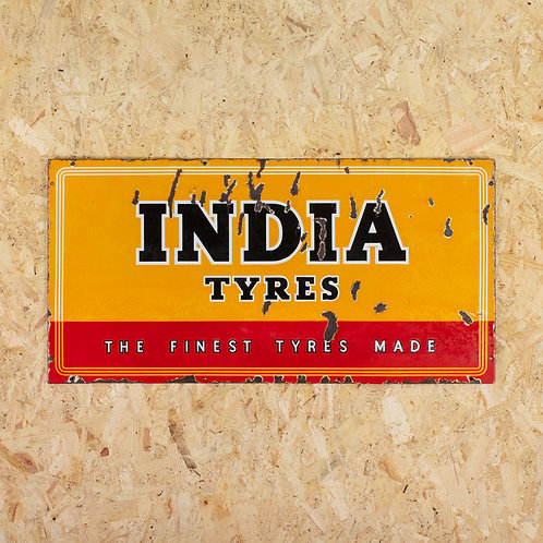 VIBRANT MID-SIZED INDIA TYRES ENAMEL SIGN