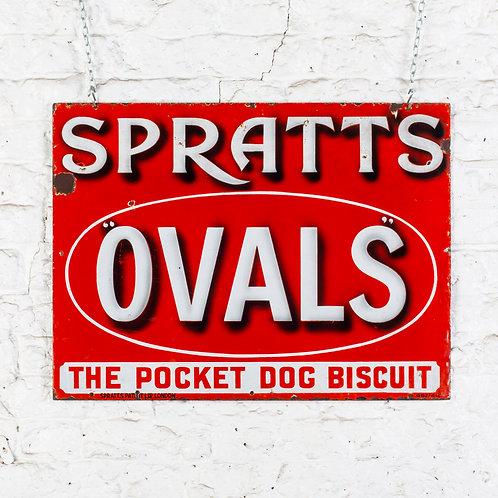 FANTASTIC SPRATT'S OVALS DOG BISCUIT ENAMEL SIGN
