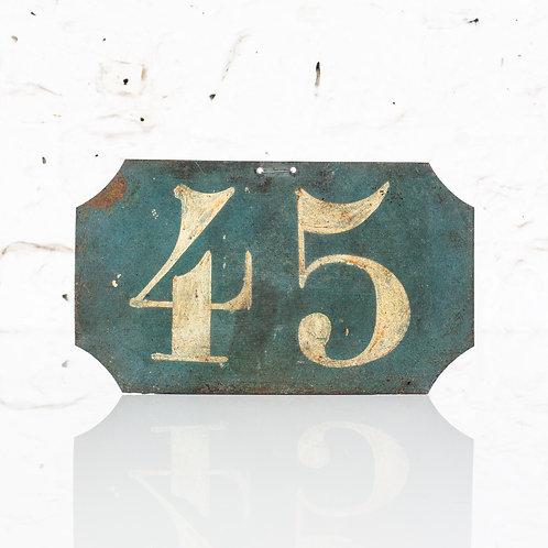 #45 - ANTIQUE, FRENCH, HAND PAINTED BIN LABEL / DOOR NUMBER