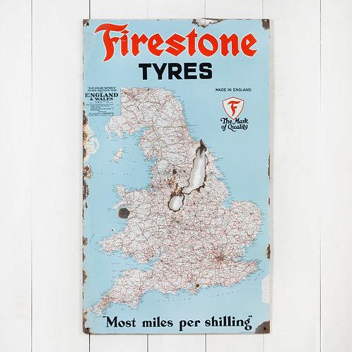 FIRESTONE TYRES MAP OF ENGLAND ENAMEL SIGN