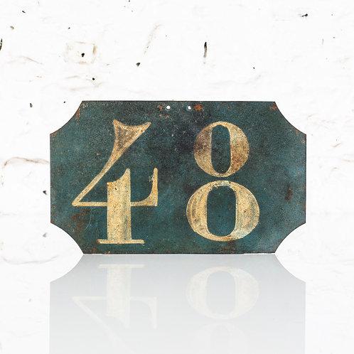 #48 - ANTIQUE, FRENCH, HAND PAINTED BIN LABEL / DOOR NUMBER
