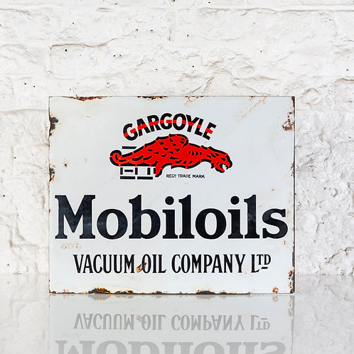 EARLY MOBILOILS GARGOYLE ENAMEL FLANGE SIGN