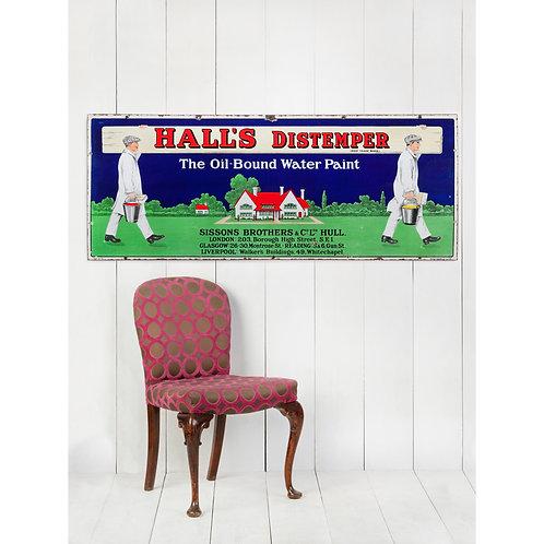 FANTASTIC HALL'S DISTEMPER PICTORIAL ENAMEL SIGN