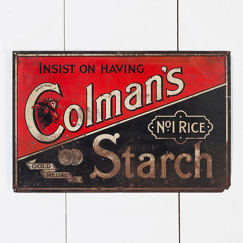 AN EARLY, COLMAN'S STARCH TIN ADVERTISING SIGN