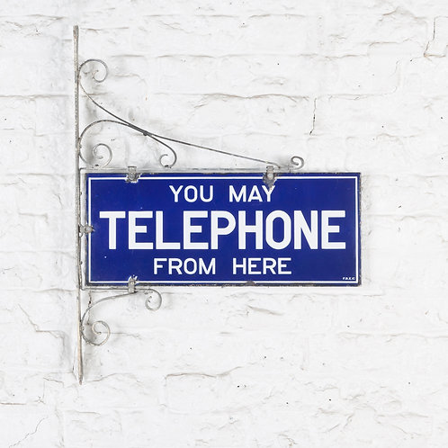 PUBLIC TELEPHONE ENAMEL SIGN IN ORIGINAL FRAMEWORK