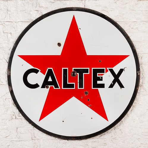 LARGE, DOUBLE-SIDED CALTEX PETROL ENAMEL SIGN