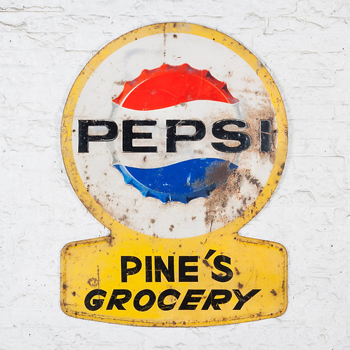 LARGE, MID-CENTURY AMERICAN PEPSI TIN SIGN