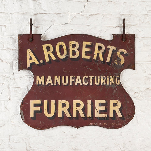 A.ROBERTS FURRIER - HAND PAINTED HANGING SIGN