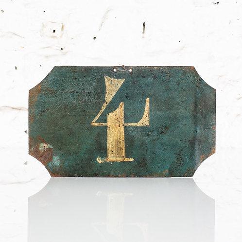 #4 - ANTIQUE, FRENCH, HAND PAINTED BIN LABEL / DOOR NUMBER
