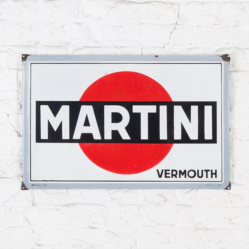 A VERY BRIGHT, MID-SIZED MARTINI ENAMEL SIGN