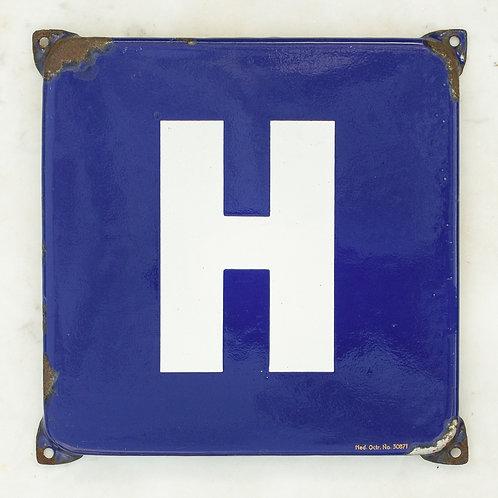 LOVELY VINTAGE, BLUE + WHITE LETTER H ENAMEL SIGN