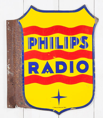 EARLY, DOUBLE-SIDED PHILIPS RADIO ENAMEL SIGN
