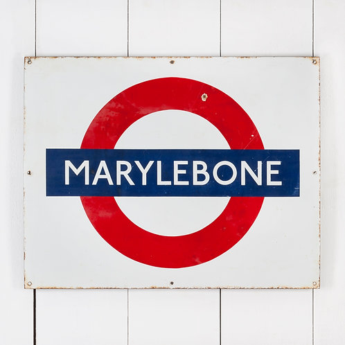 MARYLEBONE, LONDON UNDERGROUND / TUBE ENAMEL SIGN