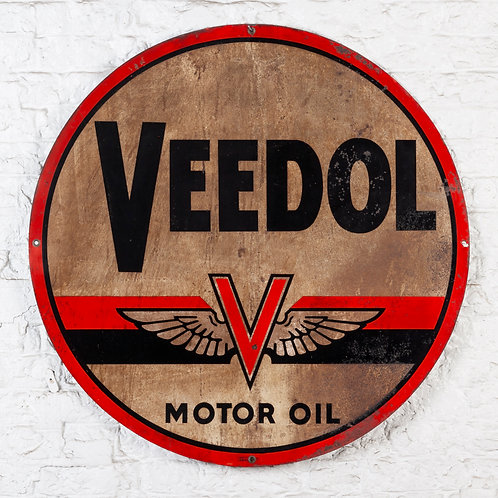 LARGE, HEAVILY PATINATED VEEDOL MOTOR OIL TIN SIGN