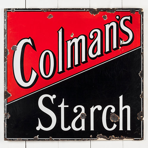 STRIKING, LARGE COLMAN'S STARCH ENAMEL SIGN