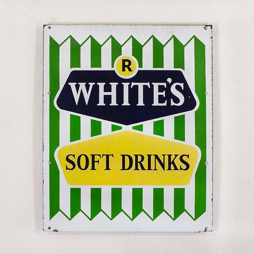 R WHITE'S SOFT DRINKS ENAMEL SIGN