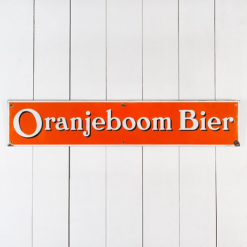 VINTAGE ORANJEBOOM BIER (BEER) DUTCH ENAMEL SIGN