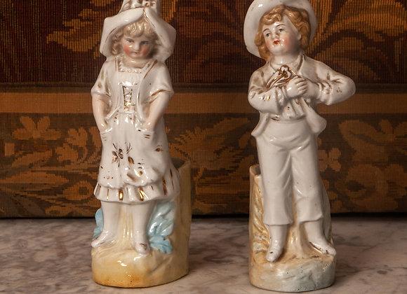 Pair of Victorian Pottery Fairing Spill Holder Figures