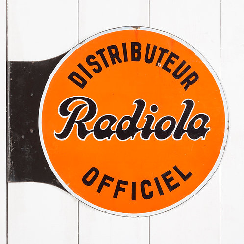 VIBRANT, DOUBLE-SIDED RADIOLA ENAMEL SIGN