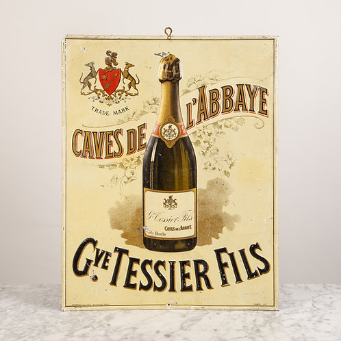 ORIGINAL FRENCH 'CHAMPAGNE' ADVERTISING TIN SIGN