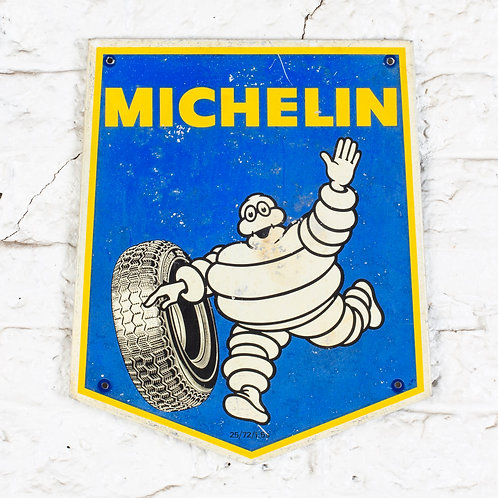 SMALL VINTAGE TIN MICHELIN TYRES SHIELD SIGN