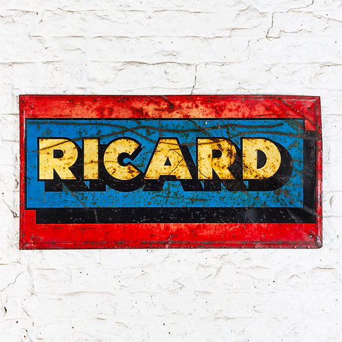 CHARACTERFUL VINTAGE RICARD TIN SIGN