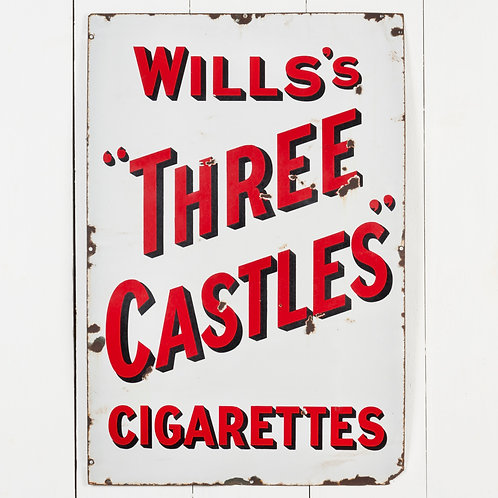 "WILLS'S ""THREE CASTLES"" CIGARETTES ENAMEL SIGN"