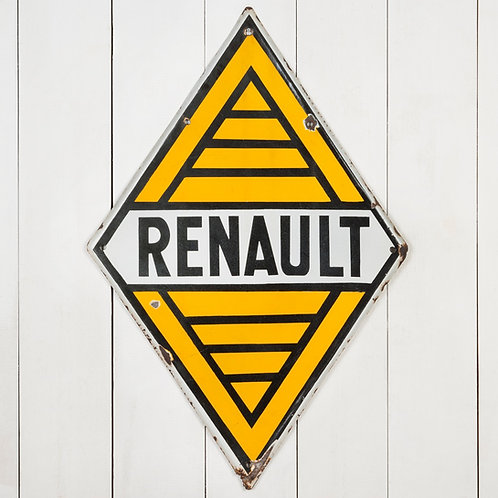 WONDERFUL, DOUBLE-SIDED RENAULT ENAMEL SIGN