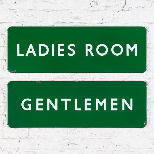 A PAIR OF BRITISH RAIL LADIES ROOM + GENTLEMEN ENAMEL SIGNS