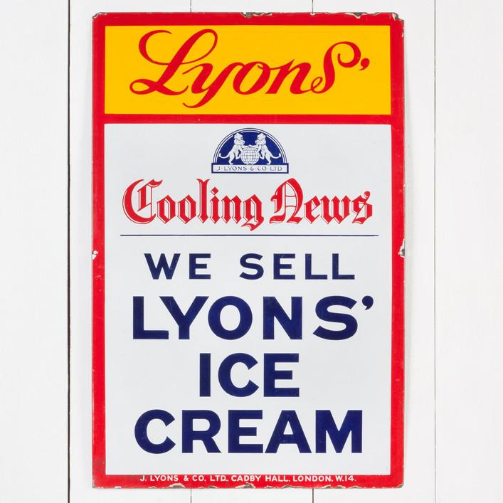 LYONS' ICE CREAM ENAMEL SIGN