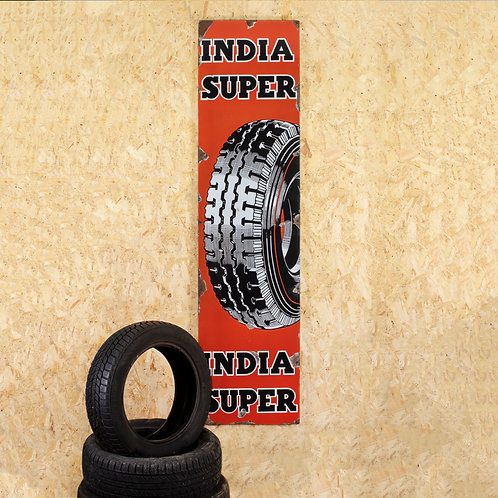 LARGE, PICTORIAL INDIA TYRES ENAMEL SIGN
