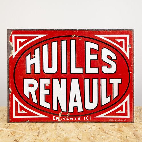 FANTASTIC HUILES (MOTOR OILS) RENAULT ENAMEL FLANGE SIGN