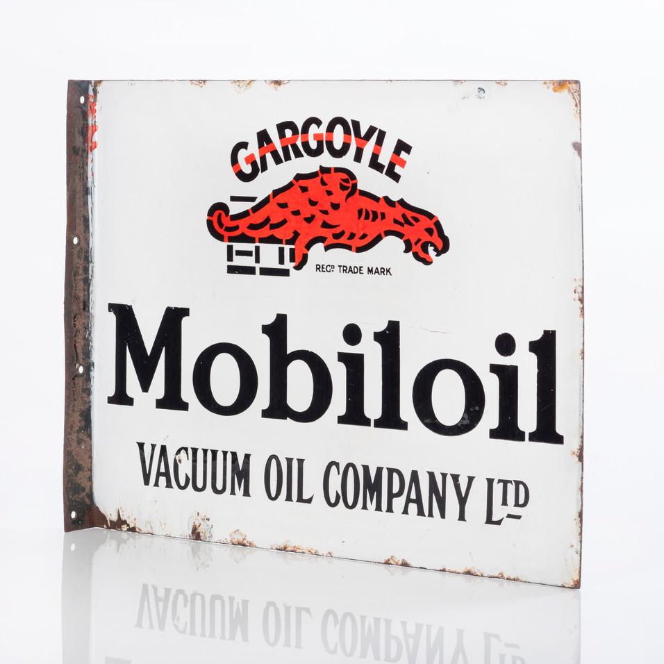 MOBILOIL GARGOYLE ENAMEL FLANGE SIGN