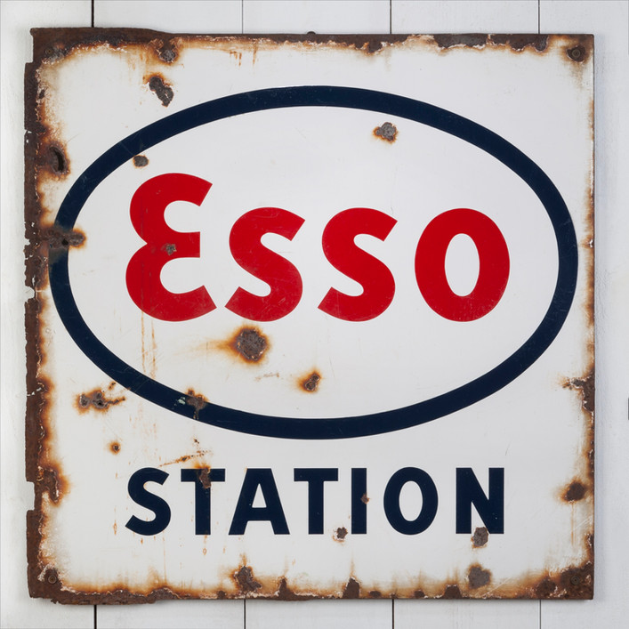 PERFECTLY AGED ESSO STATION ENAMEL SIGN