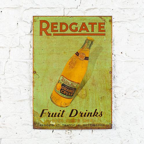 CHARMING, REDGATE FRUIT DRINKS TIN SIGN
