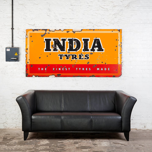 LARGE, COLOURFUL INDIA TYRES ENAMEL SIGN
