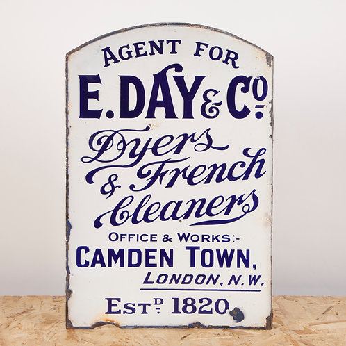 EARLY E. DAY & CO. CLEANERS / DYERS of CAMDEN TOWN ENAMEL FLANGE SIGN
