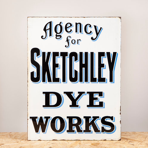 AGENCY FOR SKETCHLEY DYE WORKS, EARLY ENAMEL FLANGE SIGN