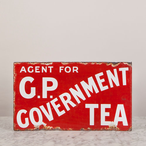 EARLY 20TH C. ENAMEL SIGN FOR G.P. GOVERNMENT TEA