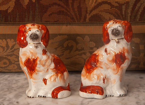 A Small Pair of Victorian Staffordshire Dogs