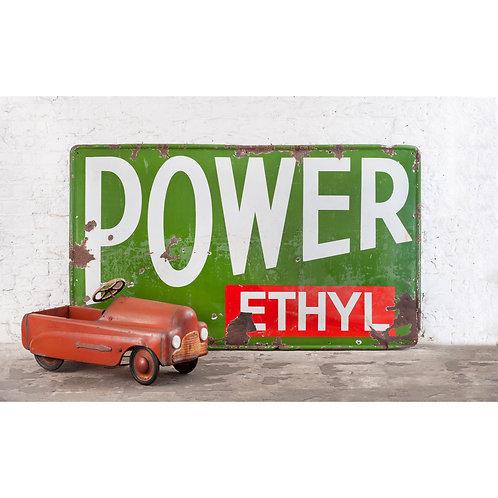HUGE POWER PETROL / POWER ETHYL ENAMEL SIGN