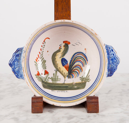 ANTIQUE HR HENRIOT QUIMPER FAIENCE COCKEREL BOWL