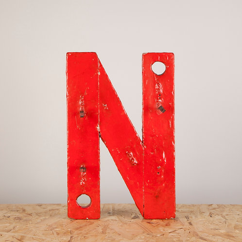 AN ORIGINAL PAINT WOODEN NEON BACKING LETTER N