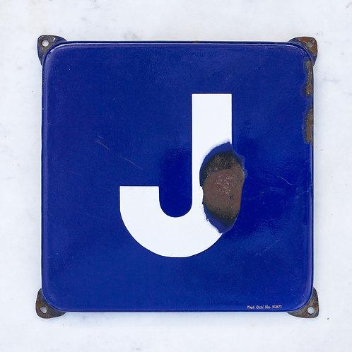 LOVELY VINTAGE, BLUE + WHITE LETTER J ENAMEL SIGN