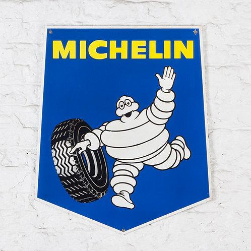 A DOUBLE-SIDED MICHELIN SHIELD SHAPED ENAMEL SIGN