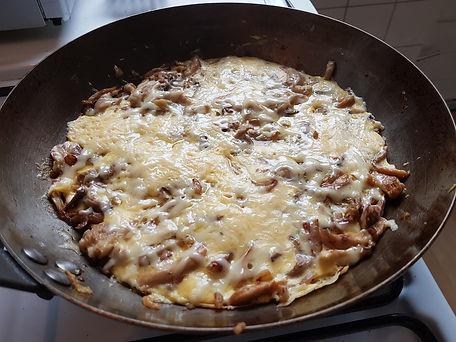 ei omelet met oesterzwammen en kaas
