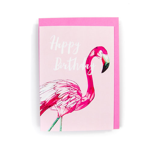 Flamingo Birthday Card by Ryan McEwan Photography