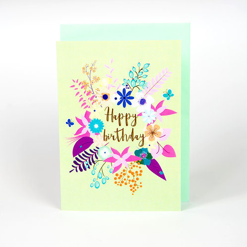 Green Floral Birthday Card A6