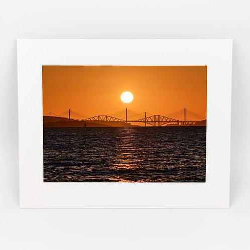 Forth Bridges Sunset Mounted Print